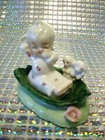 "*SUPER RARE VTG* Napco Itsy Bitsy Angel Girl w/ Puppies ""WAKIN UP"" Figurine"
