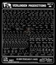 Verlinden 1/35 US Army Markings Stenciling No.1 (White) [Dry Transfer Decal] 160