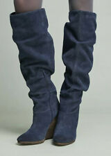 NEW Charles David Holly Wedge Boots Size 7 Blue Suede Slouchy