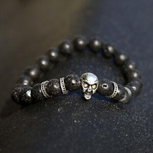 Men's Punk Skull Black Lava Rock Energy Stone Essential Oils Beaded Bracelets