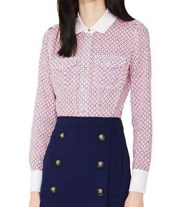 Tory Burch BRIGITTE BLOUSE Ivory Ocho Rios Size 10 with Logo buttons $195 (New)