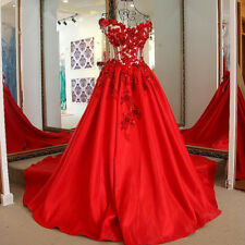 Red Classic Satin 3D Floral A Line Wedding Dress Cap Sleeve Lace-up Bridal Gown