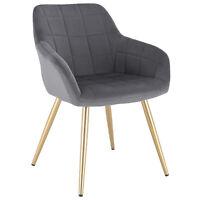 1xEsszimmerstühle Küchenstuhl mit Rückenlehne Samt Metall Z-BAS270bgd-1 Bordeaux