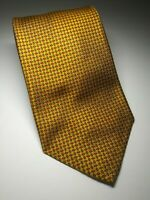 ROBERT TALBOTT Men's Classic Gold Luxury Silk Tie With Red & Brown Geo Design 💥