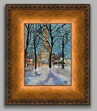 YARY DLUHOS Paris France Eiffel Tower Winter Snow FRAMED ORIGINAL Oil Painting