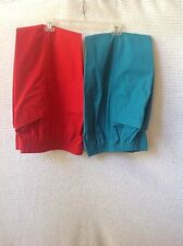 2 Pair Women's Vintage Gitano Pants S Elastic Waist Teal, Red, 8 Short 1980s