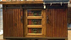 Credenza Table with Two Sliding Door and Tree Draws.