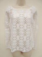 Next - Womens Cream Sheer Lacy Front Top - size 8 Petite