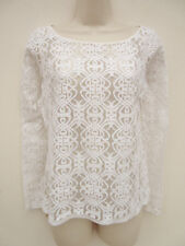 WOMENS CREAM SHEER LACY FRONT TOP - NEXT - 8 PETITE
