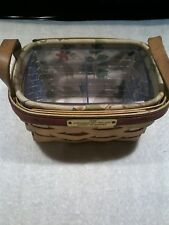 Longaberger 1993 Holiday Basket of Thanks combo liner protector mint condition