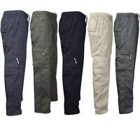 Mens Elasticated Plain Summer Trousers Cotton Cargo Combat Work Casual Pant