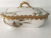 Haviland Limoges H&Co Depose Casserole Covered Dish Hand Painted Flowers & Gilt