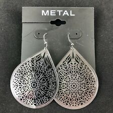 "Kohl's Metal Earrings Dark Silver-tone 2"" Teardrop Filigree Dangles"