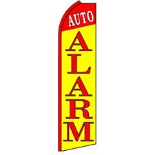 AUTO ALARM Red/Yellow Swooper Half Curve Advertising PREMIUM WIDE Flag