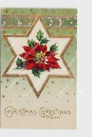 PPC POSTCARD CHRISTMAS GREETINGS POINSETTIA STARS HOLLY GOLD EMBOSSED