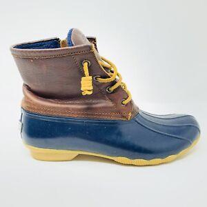 Sperry Top Sider Women's Brown Navy Duck Waterproof Winter Boots STS91175 Size 9
