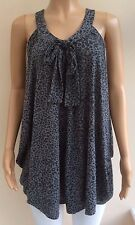 Next Grey Animal Print Long Top Tunic Size 10 JT52
