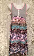 NWT SARA SARA NEON Doll Pink High Low Boho Paisley Floral Lace Trim Dress JR XL