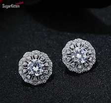 Fancy Shiny 925 Sterling Silver CZ Halo Cluster Flower Stud Earrings Jewellery