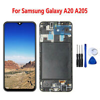 Per Samsung Galaxy A20 A205 Schermo LCD Display Touchscreen Assembly Frame Nero