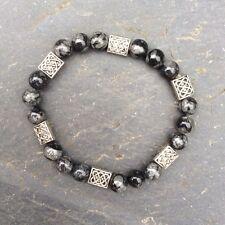 Irish fossil limestone Kilkenny marble Celtic bracelet. Men women jewellery gift