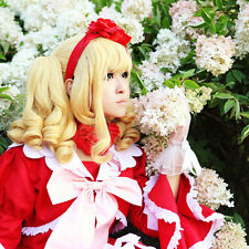 Black Butler Elizabeth Midford Blond Curly Bunches Cosplay Wig+wig cap+Free ship