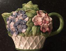 Rare European Ceramic Tea Pot Hand Painted In Italy - Classic Chic Floral