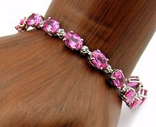 Women's 17.04 ct Pink Ruby Gemstone Bracelet in Solid 10k White Gold