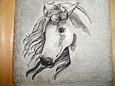 ELUSIVE STALLION HORSE DESIGN, EMBROIDERED HAND TOWEL, GREY TOWEL