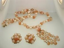"VINTAGE 1950-60'S LISNER 29"" LUCITE PEACH AND FAUX PEARL NECKLACE & EARRINGS!"