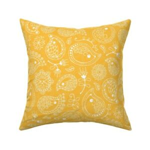 Hedgehog Porcupine Yellow Throw Pillow Cover w Optional Insert by Roostery