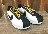 Mens Size 9.5 Nike Cortez Basic Leather White/Black-Amarillo BV2527-100 Lace Up