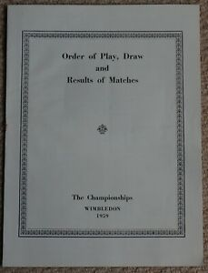 Order of Play, Drawer and Results of Matches Wimbledon Championships 1959