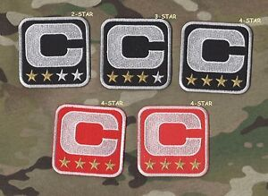 your choice of one WHITE BORDER RED 4-Four-⭐Gold-STAR Captain's iron-on C-Patch
