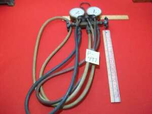 RITCHIE YELLOW JACKET FREON TEST & CHARGING MANIFOLD W/ HOSES & MARSH GAUGES VGC