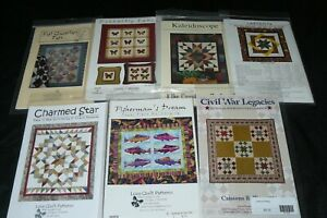 Lot of 7 Quilting Quilt Patterns Civil War Labyrinth Fisherman Butterfly Fat...