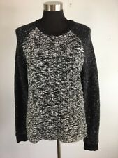Lou & Grey Womens Sweater M Medium Black White Gray Marl Long Ribbed Sleeve
