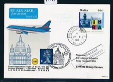 67761) LH/BM FF GB/UK Londra-Parigi 2.5.2000, SP CARD Malta STAMP IBRA