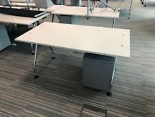 1600 light grey workstations with silver legs