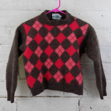 United Colors of Benetton Girls 8 Shetland Wool Argyle Pattern Sweater Italy