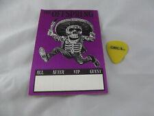VINTAGE Offspring UN-Stamped Pass AFTERSHOW -BACKSTAGE GREG K GUITAR PICK 1990s