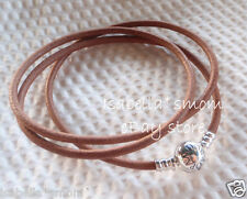 "NEW 100% Authentic PANDORA Brown FRIENDSHIP Leather/Silver BRACELET 24.2""/61.5cm"