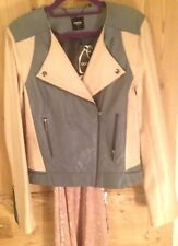 Cream blue tailored super soft leather biker jacket Oasis S 8 10 12 BNWT RRP£160