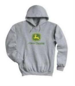 John Deere Licensed Gray Hooded Sweatshirt / Drawstring Hoodie