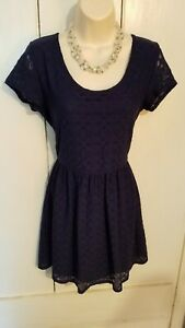 Arizona Jean Co. Navy Lace Short Sleeved Short Dress- Womens Juniors Medium