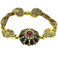Luxury Heart Vintage Style Emerald Green Red Flowers Antique Gold Bracelet BB198