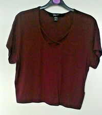 New Look age 12-13 yrs burgundy cropped top with crossover neckline