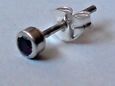 SINGLE STERLING SILVER & AMETHYST SMALL ROUND 2mm. STUD EARRING £3.50  NWT
