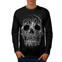 Wellcoda Tree Skull Horror Mens Long Sleeve T-shirt, Burial Graphic Design