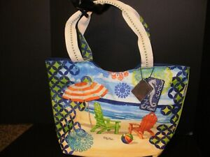 Beach Bag by Paul Brent Multicolored Beach Scene Print with Cosmetic pouch